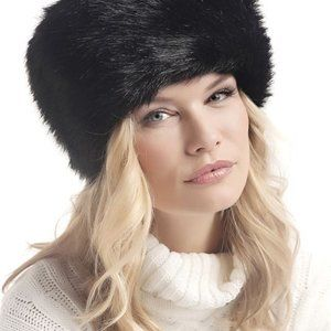 BLACK FAUX FUR RUSSIANSTYLED COSSACK WINTER HAT TG